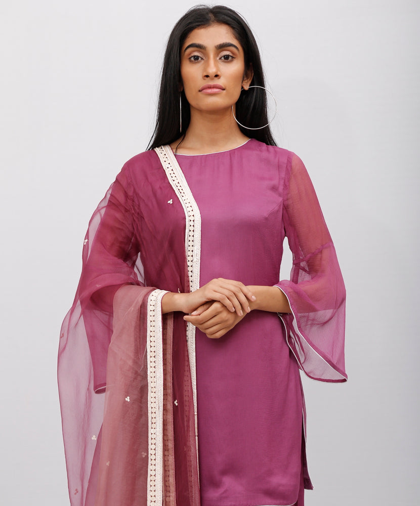 Burgundy Chiffon Kurta Set & Embroidered Dupatta