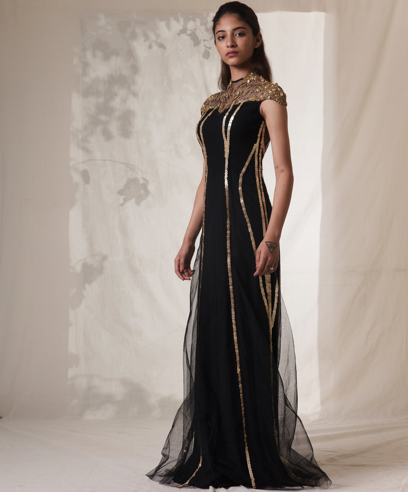 Black Embroidered Abstract Splatter Blot Gown