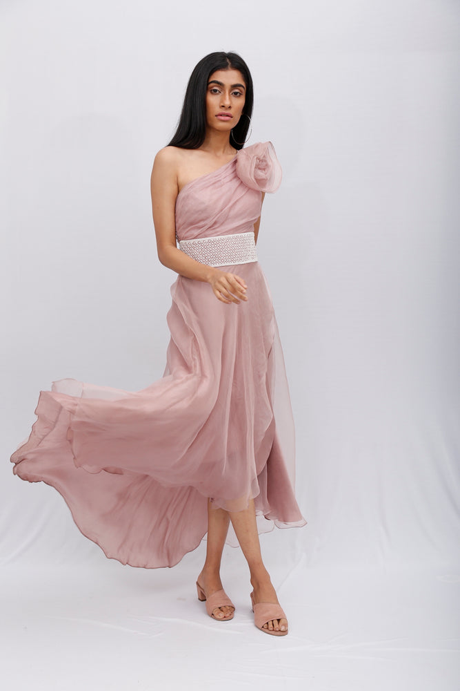 Rose One-Shoulder Gown