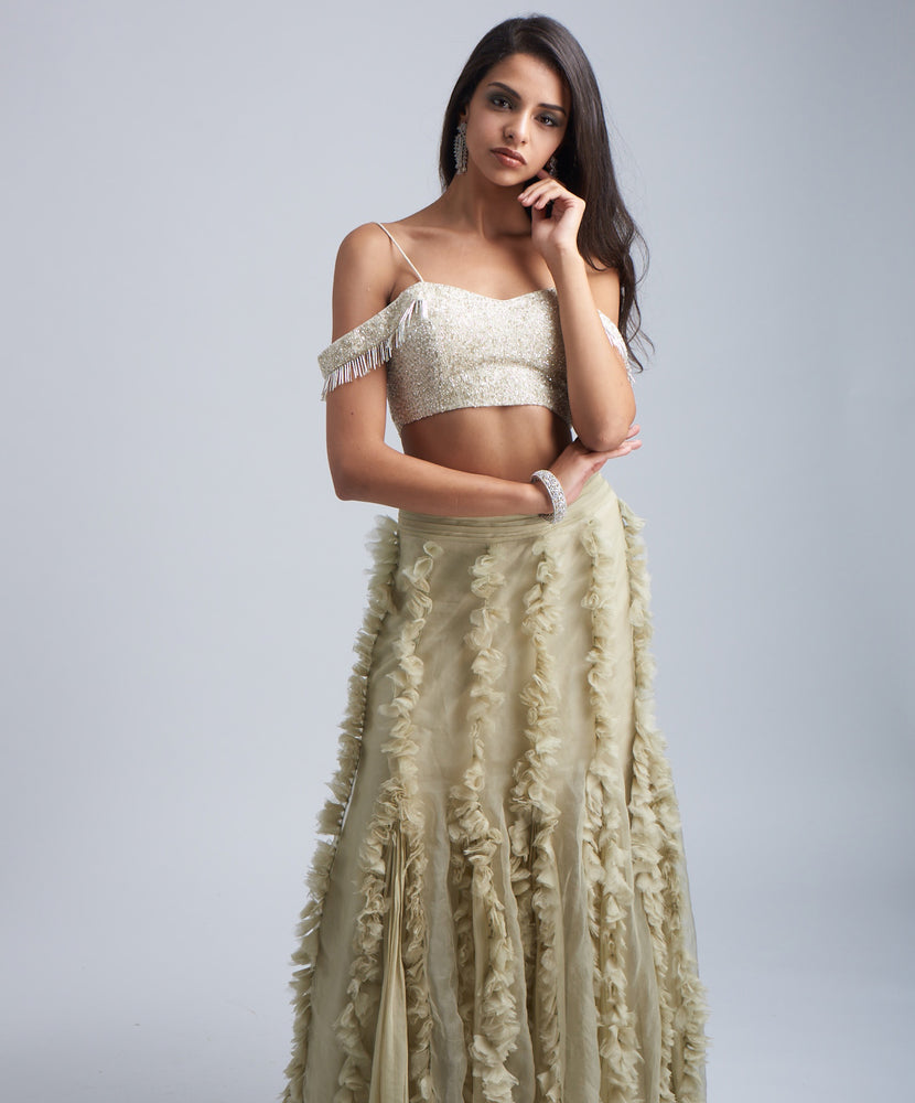 Green Flower Lehenga Set