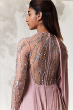 Pink Embroidered Drape Gown