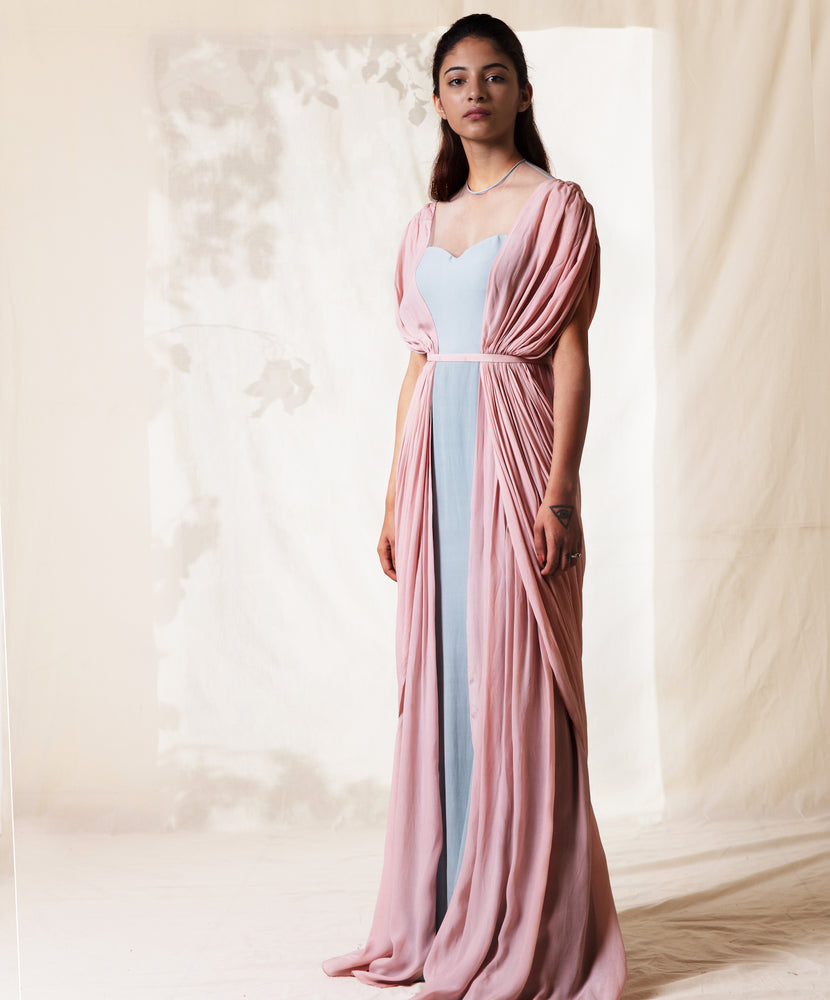 Pearl Pink & Frost Blue Gathered Draped Gown