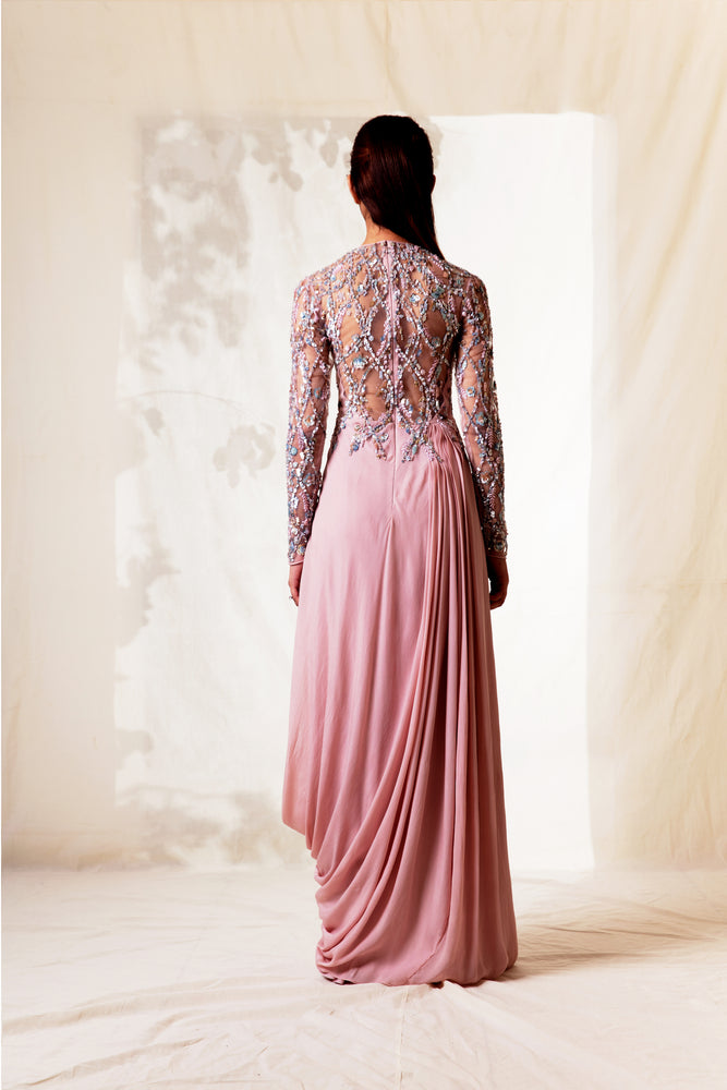 Pink Hand Embroidered Gown