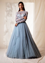 Light Blue Embroidered Gown