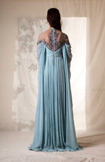 Sky Blue Plisse Embroidered Gown