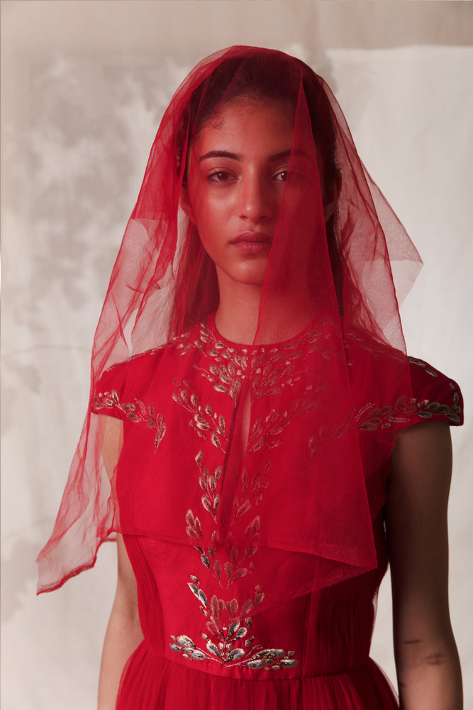 Red Embroidered Symmetrical Twig Gown