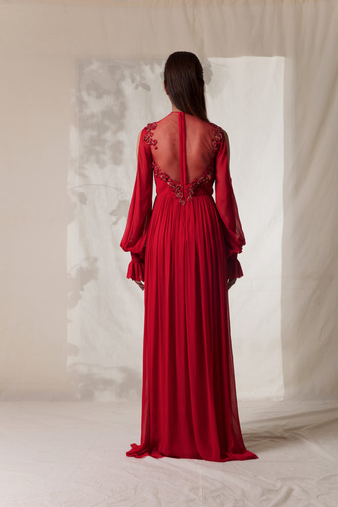 Red Embroidered Bell Sleeves Gown
