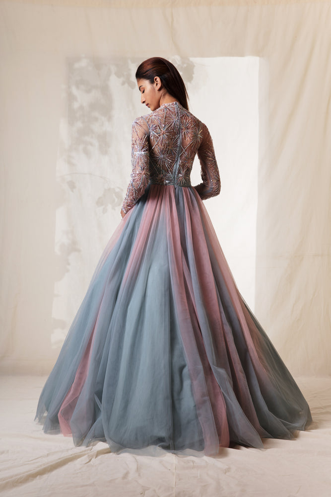 Pearl Pink & Frost Blue Embroidered Ombre Gown