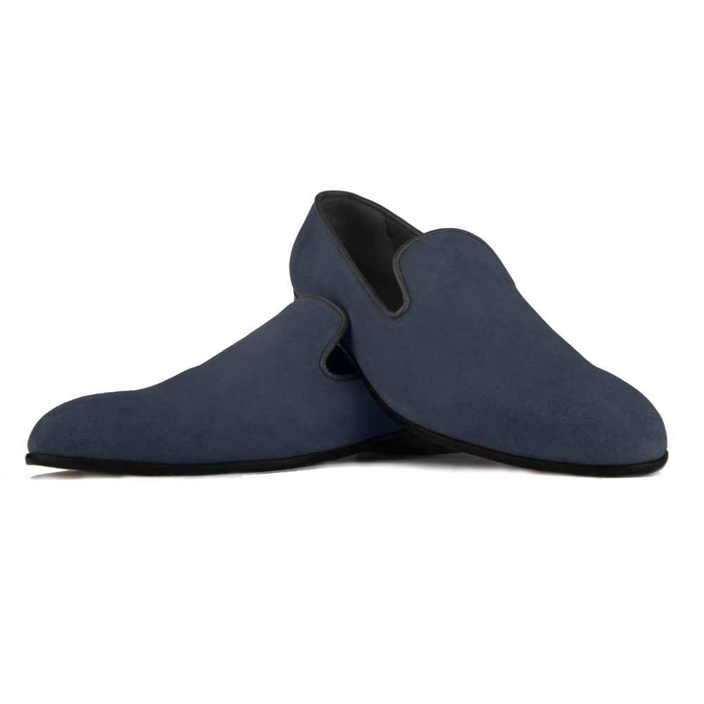 Blue Faux Suede Loafers