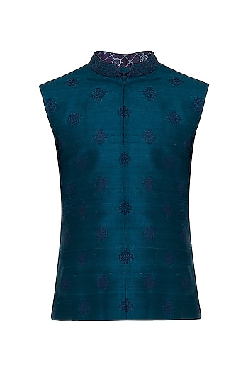 Turquoise Embroidered Bundi Jacket