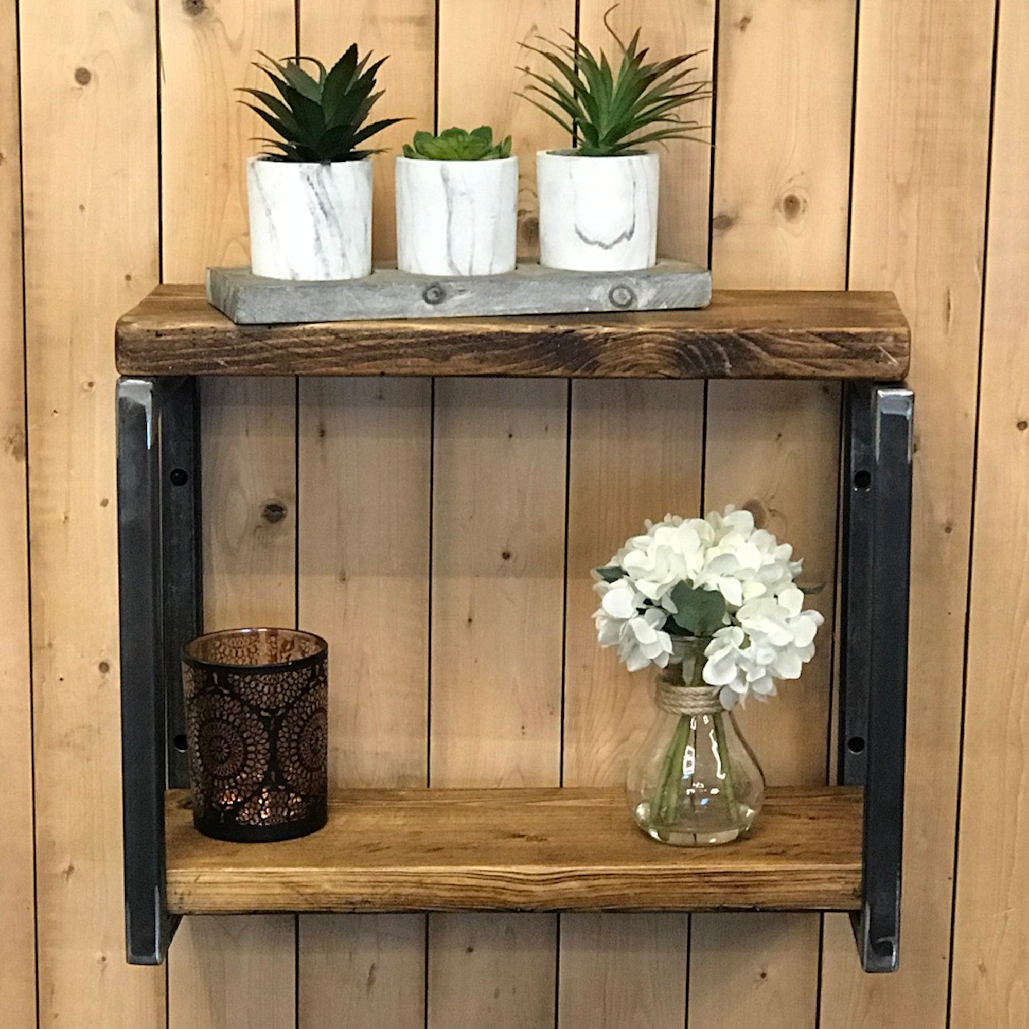 Picture of: Industrial Double Scaffold Board Rustic Shelves Wood Chic Shelf Brac Rusticland