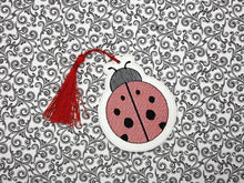 Load image into Gallery viewer, Lady Bug Book mark (fill and applique versions included) DIGITAL DOWNLOAD 4x4