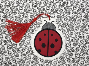 Lady Bug Book mark (fill and applique versions included) DIGITAL DOWNLOAD 4x4
