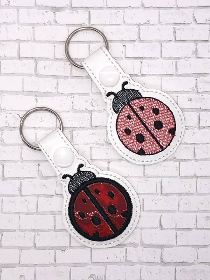 Lady bug  snap tab (fill and applique versions included) Digital Download 4x4