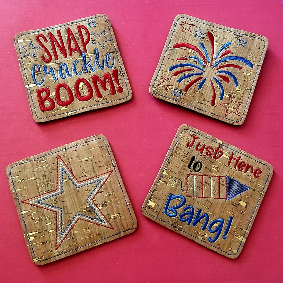 4th of July Coaster set of 4 Designs DIGITAL DOWNLOAD 4x4