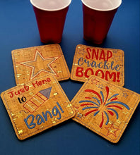 Load image into Gallery viewer, 4th of July Coaster set of 4 Designs DIGITAL DOWNLOAD 4x4