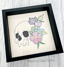 Load image into Gallery viewer, Skull flower embroidery design 5 sizes included DIGITAL DOWNLOAD