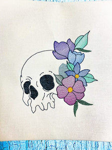 Skull flower embroidery design 5 sizes included DIGITAL DOWNLOAD