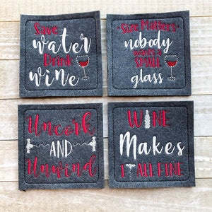 Wine Coaster Set of 4 designs 4x4 DIGITAL DOWNLOAD