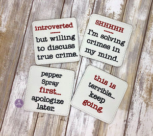 True Crime coaster set of 4 designs 4x4 DIGITAL DOWNLOAD