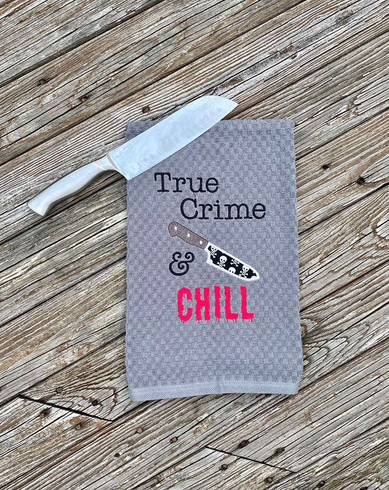 True Crime and Chill applique and fill versions embroidery design DIGITAL DOWNLOAD