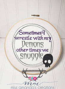 Demons Embroidery Design 4 sizes included DIGITAL DOWNLOAD