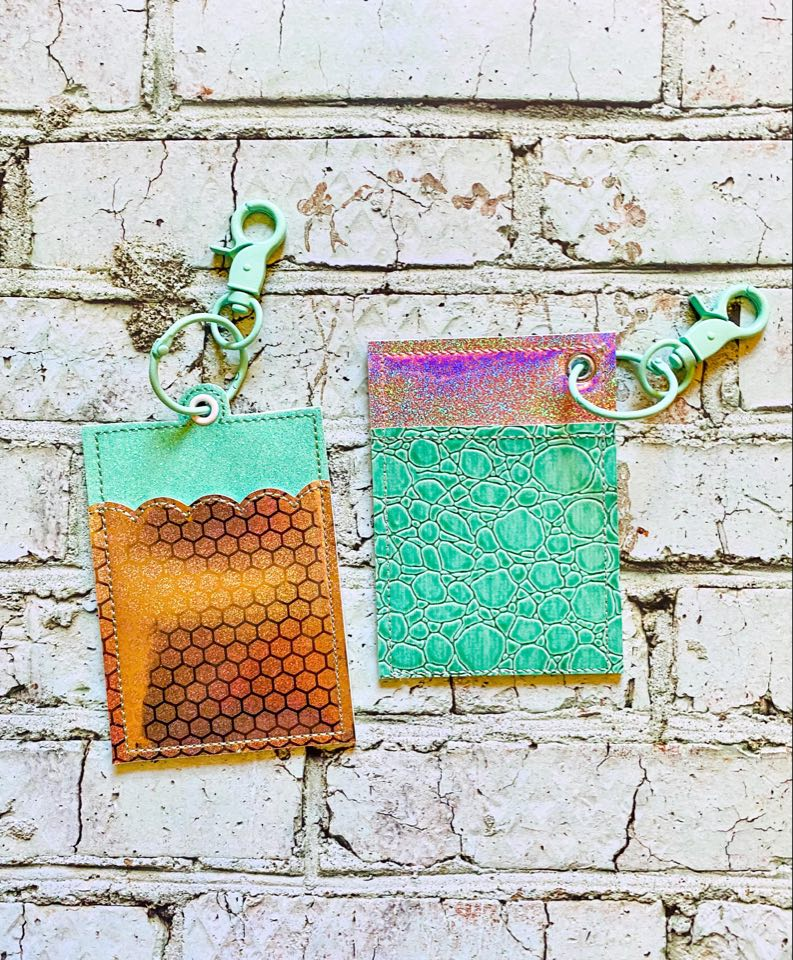 Key chain wallet two styles and 4 variations 5x7 hoop ITH design DIGITAL DOWNLOAD