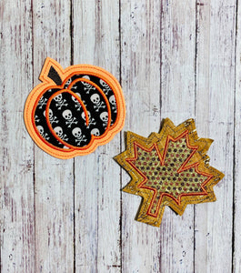 Leaf and Pumpkin Applique Coaster Set 4x4 DIGITAL DOWNLOAD