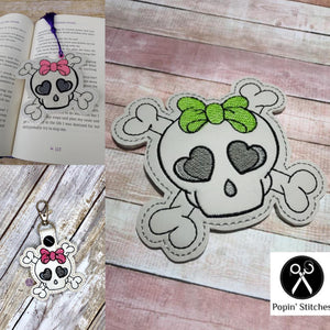 Bow Skull Design set (snap tab, bookmark and coaster) DIGITAL DOWNLOAD
