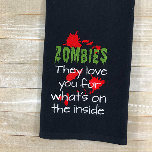 Zombies love you for what's on the inside Embroidery Design 5 sizes included DIGITAL DOWNLOAD