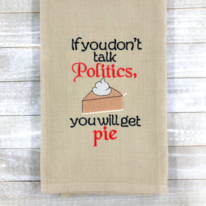Politics and Pie Embroidery Design 4x4 & 5x7 Sizes included DIGITAL DOWNLOAD