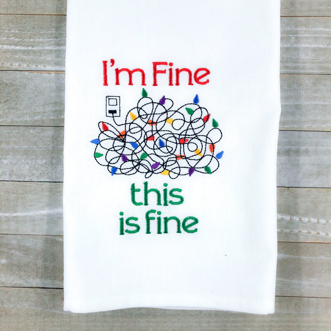 It's Fine Christmas Lights Embroidery Design 5 sizes included DIGITAL DOWNLOAD