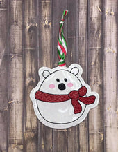 Load image into Gallery viewer, Polar Bear Ornament 4x4 embroidery design DIGITAL DOWNLOAD