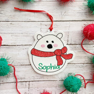 Polar Bear Ornament 4x4 embroidery design DIGITAL DOWNLOAD