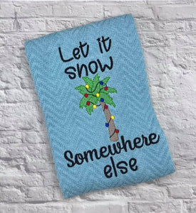 Let it snow palm tree embroidery design 5 sizes included DIGITAL DOWNLOAD