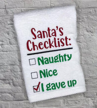 Load image into Gallery viewer, Santa's Checklist embroidery design 5 sizes included (INCLUDES BONUS ORNAMENT) DIGITAL DOWNLOAD