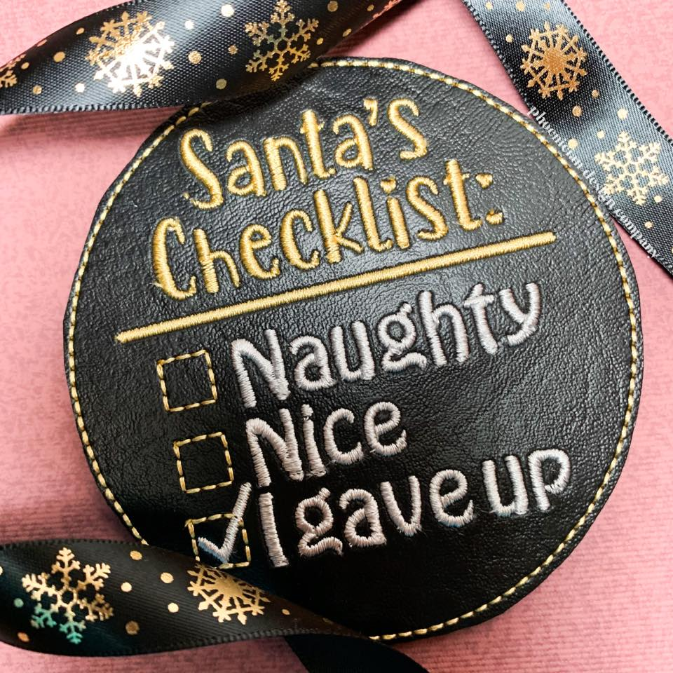 Santa's Checklist Ornament 4x4 DIGITAL DOWNLOAD