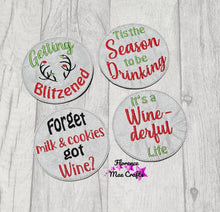 Load image into Gallery viewer, Wine Christmas Coaster Set of 4 embroidery designs DIGITAL DOWNLOAD