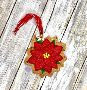 Poinsettia Applique Ornament 4x4 embroidery design DIGITAL DOWNLOAD