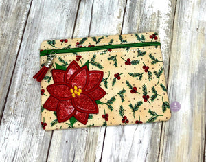 Poinsettia Applique ITH Bag 5 sizes available DIGITAL DOWNLOAD