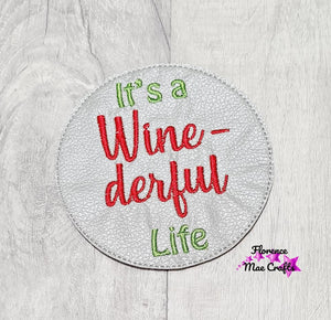Wine Christmas Coaster Set of 4 embroidery designs DIGITAL DOWNLOAD