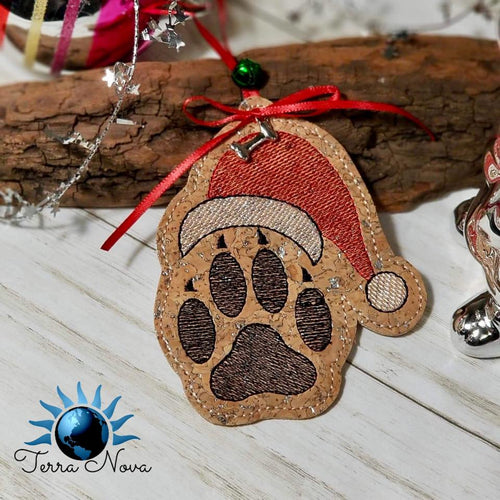 Santa Paws ornament embroidery design DIGITAL DOWNLOAD