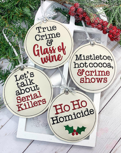 Holiday True Crime Ornament set of 4 designs DIGITAL DOWNLOAD