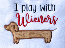 Load image into Gallery viewer, I play with wieners applique embroidery design (4 sizes included) DIGITAL DOWNLOAD