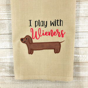 I play with wieners applique embroidery design (4 sizes included) DIGITAL DOWNLOAD