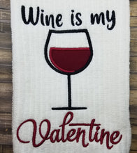 Load image into Gallery viewer, Wine is my Valentine applique embroidery design (4 sizes included) DIGITAL DOWNLOAD