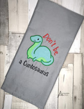 Load image into Gallery viewer, Don't be a C*ntosaurus Applique embroidery design (5 sizes included) DIGITAL DOWNLOAD