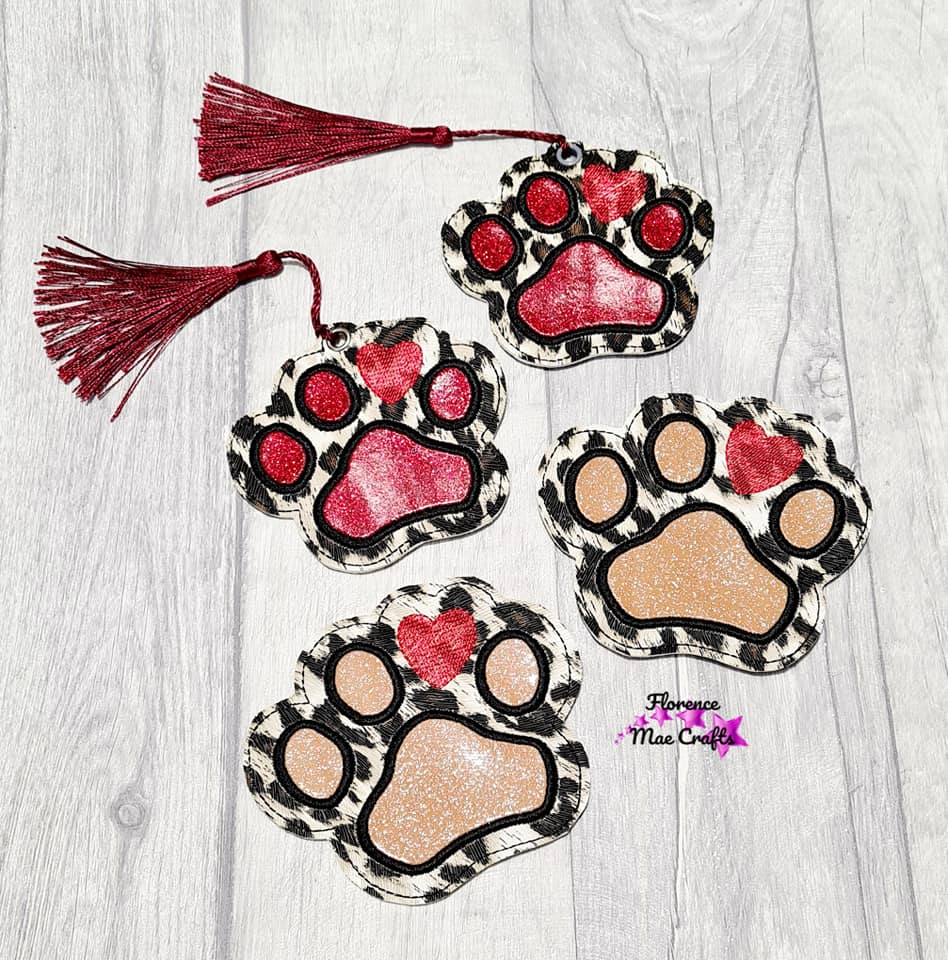 Paw Applique Set (includes coaster & bookmark designs) DIGITAL DOWNLOAD