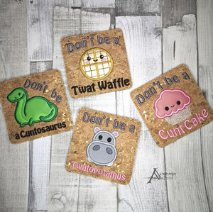 Cute Swears Applique Coaster set of 4 designs DIGITAL DOWNLOAD