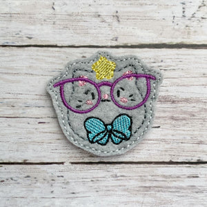 Glasses Kitty feltie (single & multi included) DIGITAL DOWNLOAD